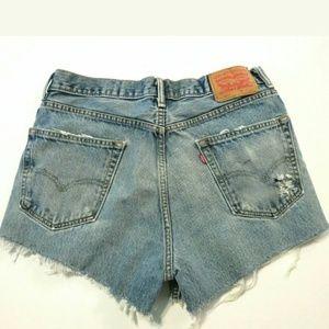 Levi's Shorts - Levi's 550 High rise waist cut off denim